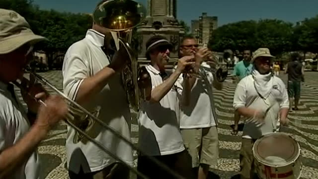 England prepare for opening game against Italy EXT England supporters band playing SOT Band playing SOT