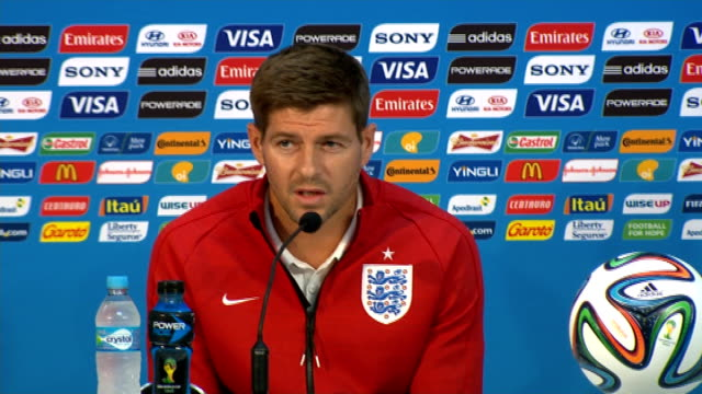 england prepare for opening game against italy brazil manaus int steven gerrard press conference sot i think we're a better team a better squad - manaus stock videos and b-roll footage