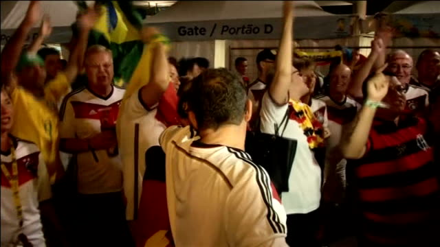 Germany beat Argentina BRAZIL Rio de Janeiro Estadio Maracana INT Germany football fans holding German flag and chanting SOT German supporters along...