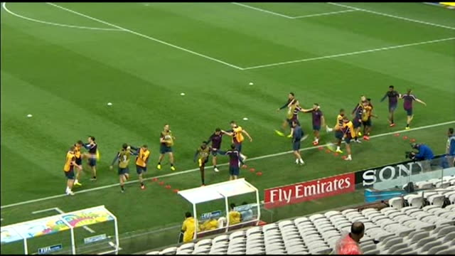 Preview of England v Uruguay match EXT High angle view England training session