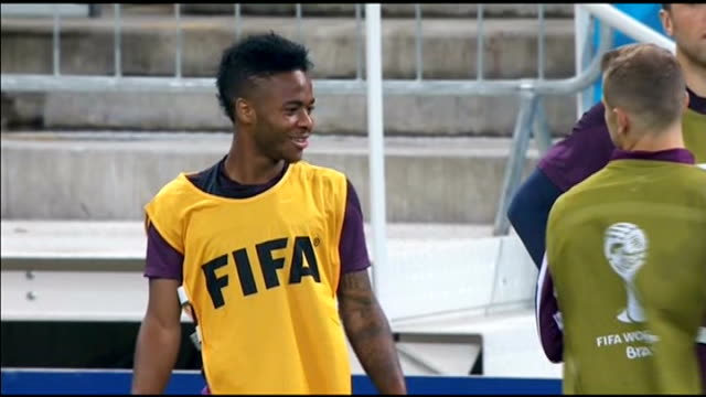 Preview of England v Uruguay match EXT Sterling at training sesssion