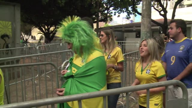 brazil and germany fans are readying themselves for their teams semi final clash in belo horizonte on tuesday - semifinal round stock videos & royalty-free footage