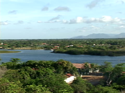 WS, PAN, Brazil, Ceara, Fortaleza, Lake and mountain range in background