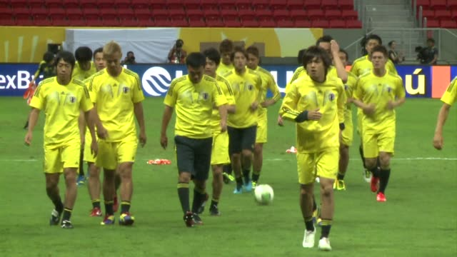 brazil clash with japan in brasilia in the opening game of the confederations cup an appetizer for the world cup which they will host next year clean... - sportweltmeisterschaft stock-videos und b-roll-filmmaterial