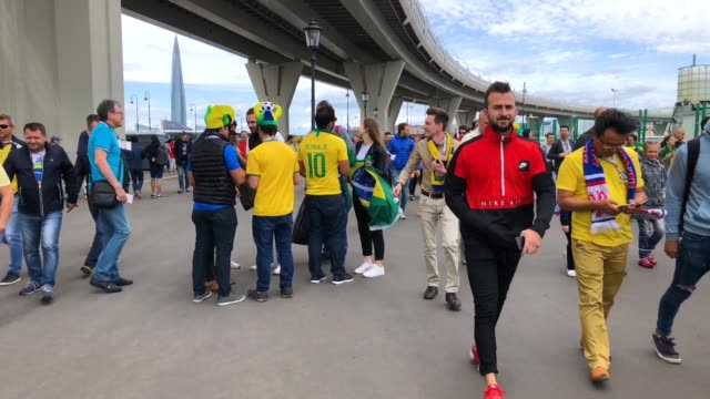 Brazil fans enjoy the pre match atmosphere prior to the 2018 FIFA World Cup Russia group E match between Brazil and Costa Rica at Saint Petersburg...