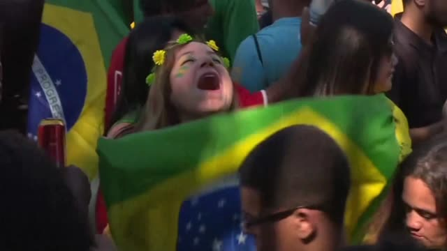 brazil fans in rio de janeiro celebrate their team's second goal and win against mexico qualifying them for the russia 2018 world cup quarter finals - quarterfinal round stock videos & royalty-free footage