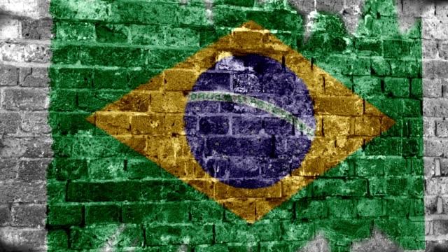 ブラジル国旗のグランジの壁。4 k - チンピラ点の映像素材/bロール