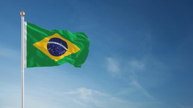 vídeos de stock, filmes e b-roll de 4 k circulares bandeira do brasil - flag
