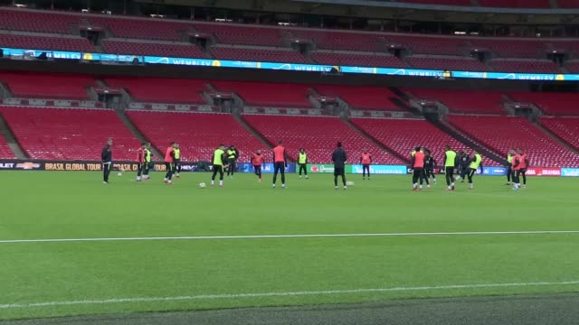 brazil hold an open training session at wembley ahead of the team's friendly against england players include neymar coutinho firmino and jesus - neymar da silva stock-videos und b-roll-filmmaterial
