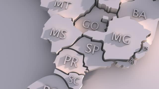vídeos de stock, filmes e b-roll de 3 d mapa 3d com membros do brasil - amazonas state brazil
