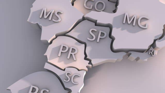 vídeos de stock e filmes b-roll de 3 d animação de mapa do brasil com estados - amazonas state brazil