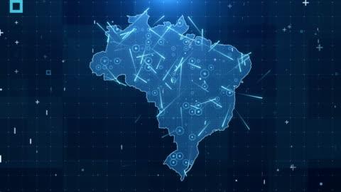 巴西地圖連接完整的細節背景4k - 巴西 個影片檔及 b 捲影像
