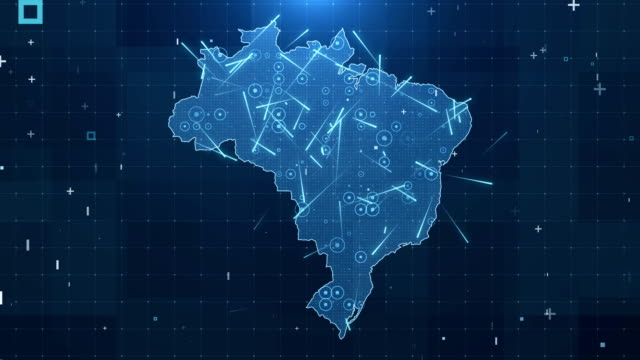 brazil map connections full details background 4k - strategy stock videos & royalty-free footage