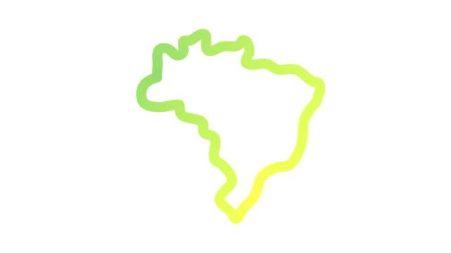 vídeos de stock, filmes e b-roll de esboço do mapa de brasil - mapa