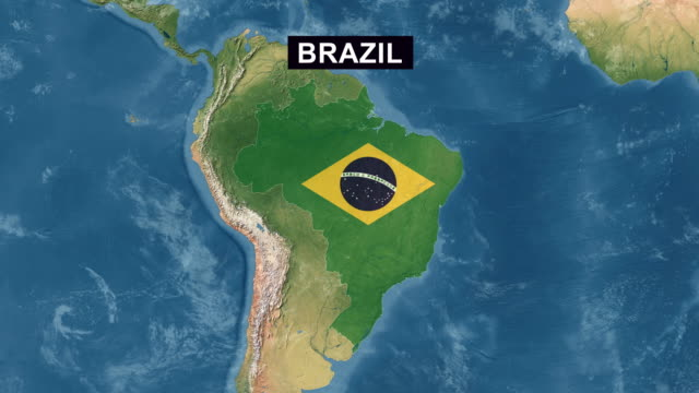 Brazil Map with Brazilian Flag, zoom in to Brazil terrain map from wide perspective view