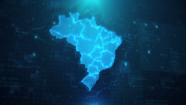 brazil map with regions against blue animated background 4k uhd - brazil stock videos & royalty-free footage