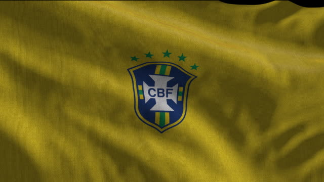 brazil national soccer team flag waving. computer generated animation for editorial use. seamlessly looped and close up. - loopable moving image stock videos & royalty-free footage