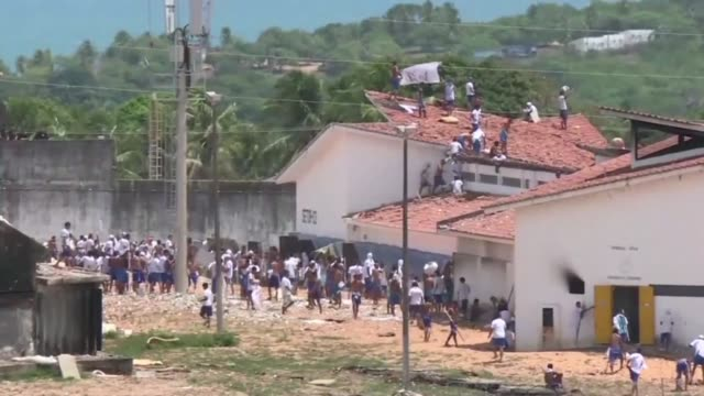 brazil police fire rubber bullets against prisoners of the alcacuz jail near the northeastern city of natal - northeastern brazil stock videos and b-roll footage