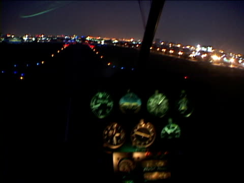 POV, Brazil, Sao Paulo, Helicopter landing at night, view from inside