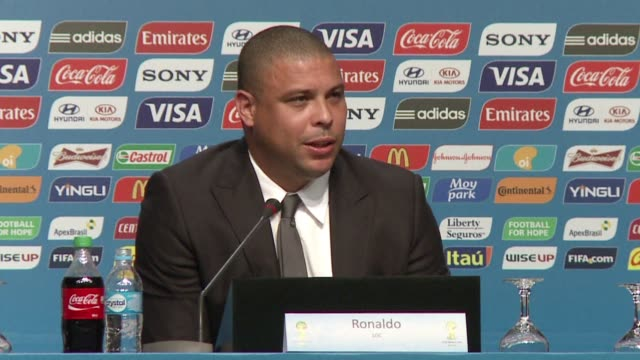 brazilian 2002 world champion striker and current member of the world 2014 local organizing committee ronaldo said he is very optimistic about the... - südbrasilien stock-videos und b-roll-filmmaterial