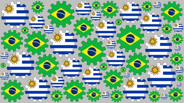 brazilian and uruguayan flag gears spinning background - uruguaian flag stock videos & royalty-free footage