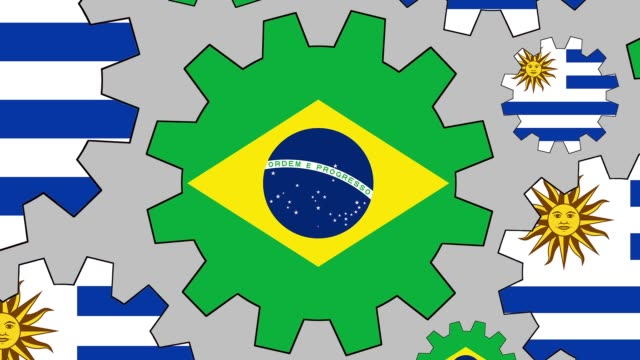 brazilian and uruguayan flag gears spinning background zooming out - uruguaian flag stock videos & royalty-free footage