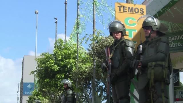 brazilian authorities in rio de janeiro were getting ready on sunday for the world cup final between argentina and germany - sportweltmeisterschaft stock-videos und b-roll-filmmaterial