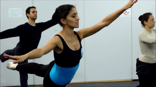 brazilian ballerinas practice steps and pirouettes during rehearsal while professor fernanda bianchini corrects their posture by lightly touching... - posture stock videos & royalty-free footage