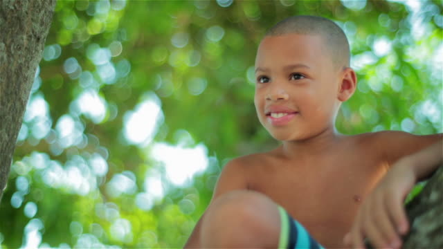 Brazilian boy sitting in tree laughs and turns to smile at camera