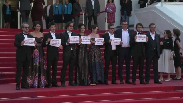 brazilian director kleber mendonca filho and the team of his new movie staged a protest at the cannes film festival tuesday in support of unseated... - film director video stock e b–roll