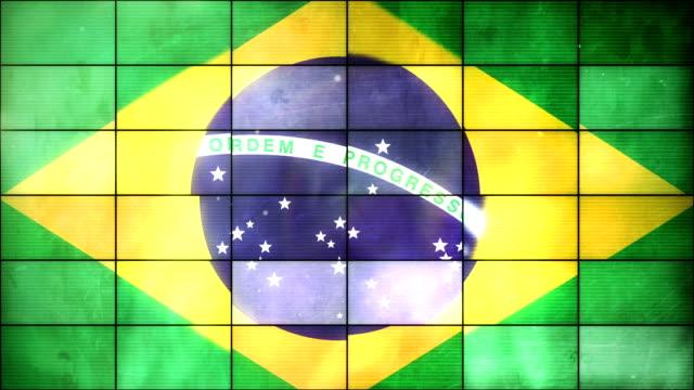brasilianische flagge-grid-loop (full hd) - internationaler fußball stock-videos und b-roll-filmmaterial