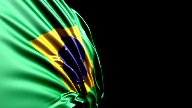 vídeos de stock, filmes e b-roll de bandeira brasileira hd, pal, ntsc, alfa incluído, loop - flag