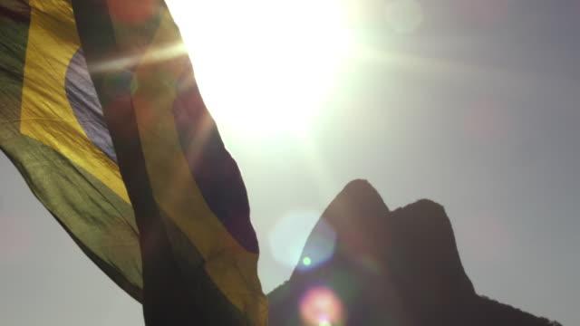 Brazilian flag on the wind, by Ipanema Beach