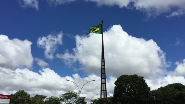 brazilian flag waving - can be used for nation holiday: september, 7 and november, 15 - hd format stock videos & royalty-free footage
