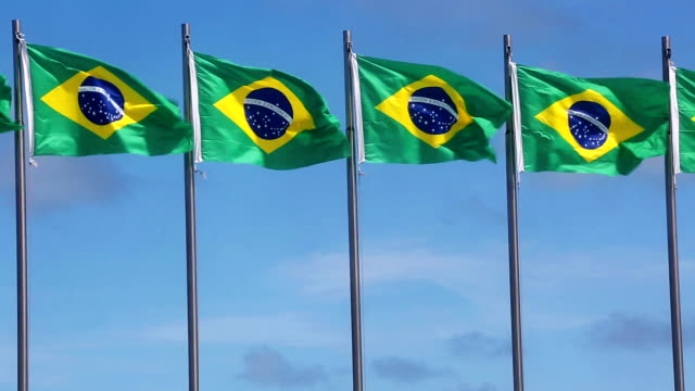 brazilian flags - small group of objects stock videos & royalty-free footage