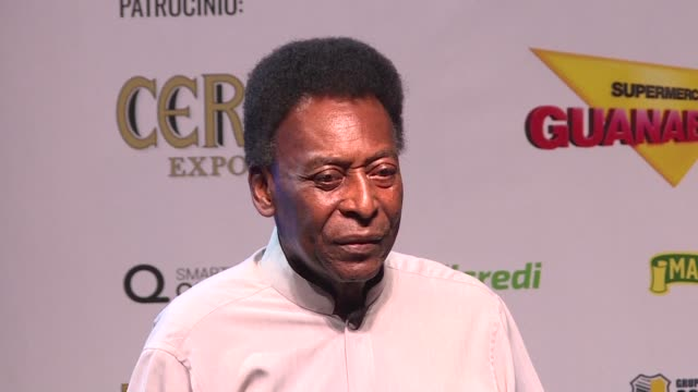Brazilian football legend Pele arrives on stage with a walking frame Monday at an act to launch the Carioca championship and shows he hasn't lost his...