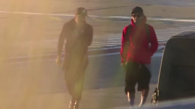 brazilian football players neymar and dani alves landed in the argentine city of rosario on friday ahead of lionel messi and antonella roccuzzo's... - neymar da silva stock-videos und b-roll-filmmaterial