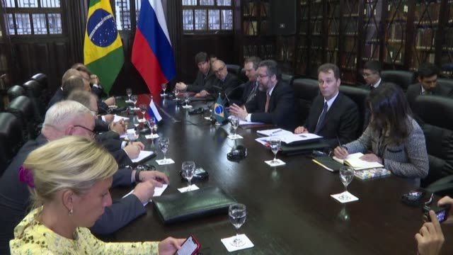 brazilian foreign minister ernesto araujo meets with ministers from the brics group of emerging economies during a summit in brazil including... - newly industrialized country stock videos and b-roll footage