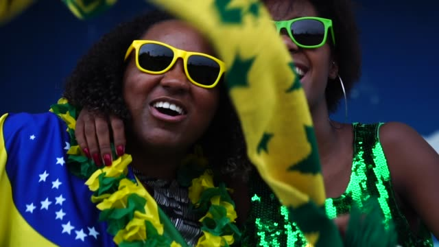 brazilian friends watching a soccer game - fan enthusiast stock videos & royalty-free footage