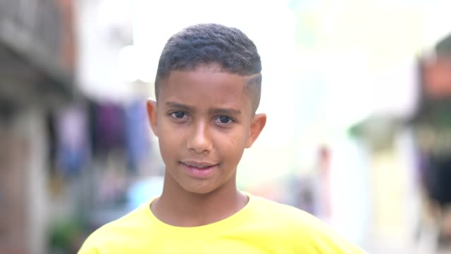 brazilian kid portrait at favela - pre adolescent child stock videos & royalty-free footage