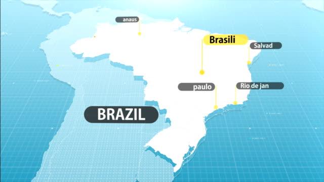 vídeos de stock, filmes e b-roll de mapa brasileiro - mapa