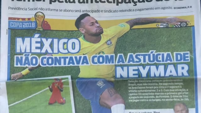 brazilian media and football fans show strong support for star striker neymar following criticism over his apparent overacting during the russia... - internationaler fußball stock-videos und b-roll-filmmaterial