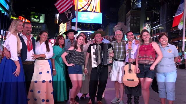 Brazilian musical group João Luiz Corrêa e Grupo Campeirismo perform in Duffy Square Times Square / Times Square Midtown Manhattan Broadway and...