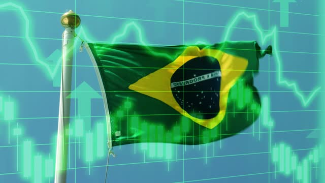 brazilian national flag with positive growth chart and graph data. concept piece to indicate improving gdp, stock market crash, recession, depression, inflation, deflation, bull market, good national, economic and business performance - bull market stock videos & royalty-free footage