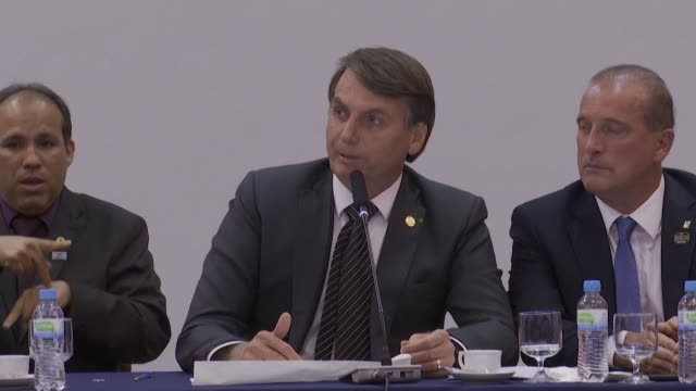 brazilian president jair bolsonaro closes the mercosur summit after he urged south america's four nation trade bloc mercosur to push ahead with... - mercosur stock videos & royalty-free footage