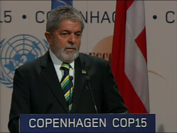 """brazilian presidentluizinacioluladasilva speaks at the climate change summit in copenhagen, denmark. he says, """"representatives, and why did we... - environment or natural disaster or climate change or earthquake or hurricane or extreme weather or oil spill or volcano or tornado or flooding stock videos & royalty-free footage"""