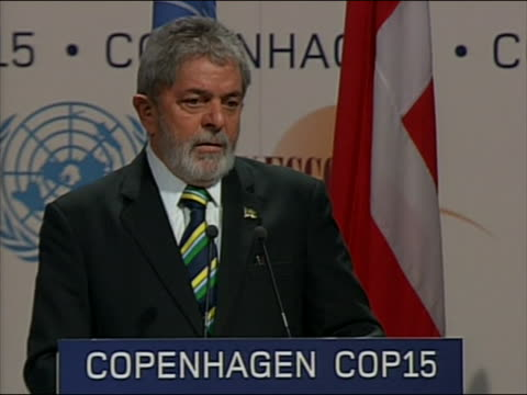 mcu brazilian president luiz inacio lula da silva speaks at the climate change summit in copenhagen denmark he says representatives and why did we... - environment or natural disaster or climate change or earthquake or hurricane or extreme weather or oil spill or volcano or tornado or flooding stock videos & royalty-free footage