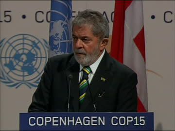 """brazilian presidentluizinacioluladasilva speaks at the climate change summit in copenhagen, denmark. he says, """" i should say that, very bluntly... - environment or natural disaster or climate change or earthquake or hurricane or extreme weather or oil spill or volcano or tornado or flooding stock videos & royalty-free footage"""