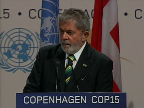 "brazilian president luiz inacio lula da silva speaks at the climate change summit in copenhagen, denmark. he says, "" i should say that, very bluntly... - (war or terrorism or election or government or illness or news event or speech or politics or politician or conflict or military or extreme weather or business or economy) and not usa stock videos & royalty-free footage"