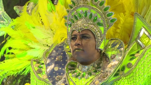 brazilian samba schools rehearse their parade show less than a month before the carnival with one school choosing the olympics as the theme with rio... - samba school stock videos and b-roll footage